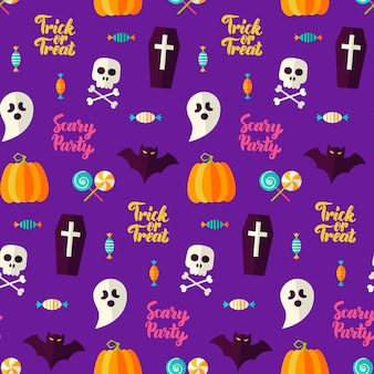 Scary party halloween seamless background. vector illustration. trick or treat.