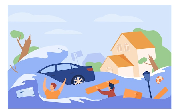 Scary people drowning in water isolated flat vector illustration. cartoon submerged houses, drowned car during flood or tsunami.
