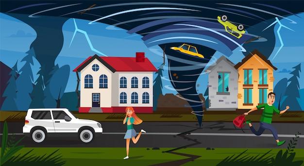 Scary people run street tornado funnel crush car