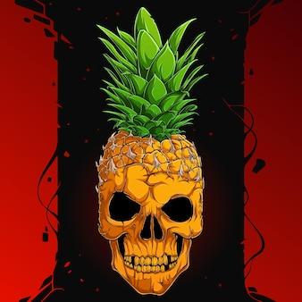 Страшный ананасовый череп, наполовину человеческое лицо черепа, наполовину ананас, серьезное лицо скелета ананаса