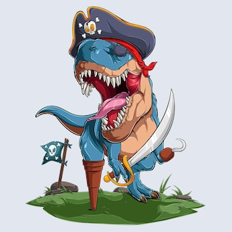 Scary pirate dinosaur trex roaring for halloween party