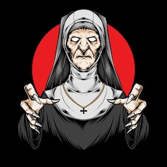 Scary priest and illustration