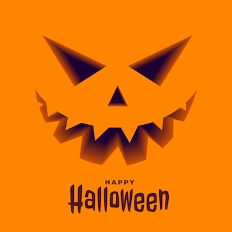 Scary pumpkin face in 3d style halloween background