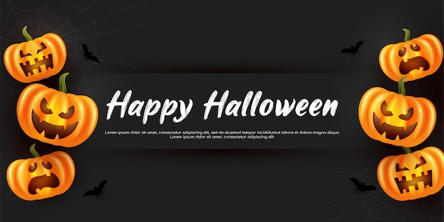 Страшная тыква на хэллоуин баннер фон