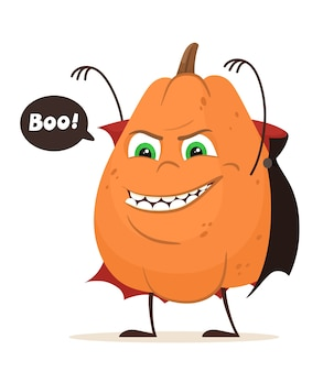 Scary pumpkin, halloween pumpkin cartoon character.  illustration. Premium Vector