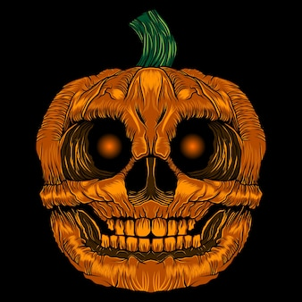 Scary pumpkin halloween vector