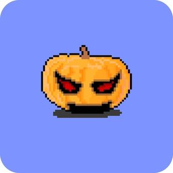 Scary pumpkin head with pixel art style