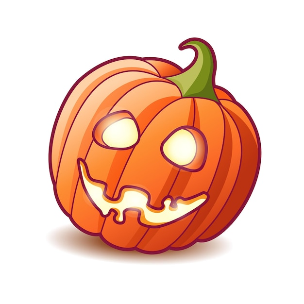 Scary pumpkin jack lantern with creepy toothy smile and fiery glow inside decoration for halloween