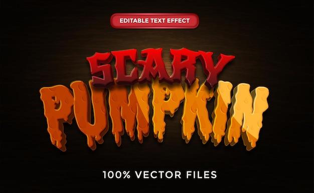Scary pumpkin text effect premium vector