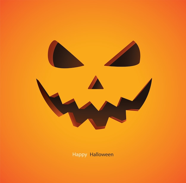 Scary pumpkin on yellow background