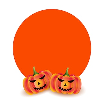 Scary pumpkins for halloween with text space