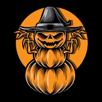 Scary pumpkins monster vector illustration