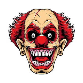 Scary red clown logo