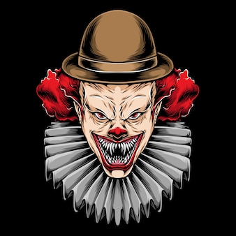 Scary red hair clown illustration