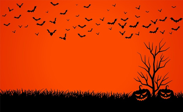 호박과 박쥐 할로윈 배경으로 무서운 붉은 하늘