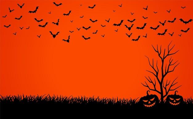 Cielo rosso spaventoso con zucche e pipistrelli sfondo di halloween