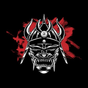 Scary samurai mask, dark background