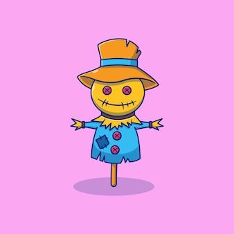 Страшное чучело с дизайном иллюстрации талисмана персонажа в шляпе ведьмы