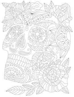 Страшный рисунок татуировки головы скелет заключил красивые цветы, глядя на свет. рисование линии черепа в окружении красивых роз и приятных листьев с закрытым ртом.