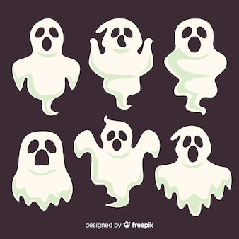 Scary set of halloween ghosts