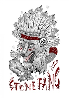 Scary shaman wolf with a stone ax