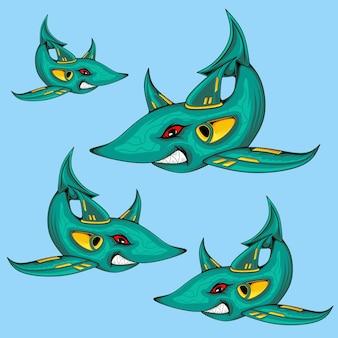 Страшная акула животное и мультфильм векторные иллюстрации набор