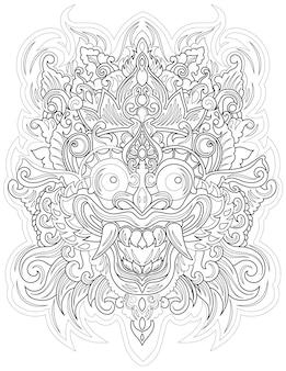 무서운 웃는 마스크 왕관 무색 선 그리기 무서운 얼굴 전면 보기