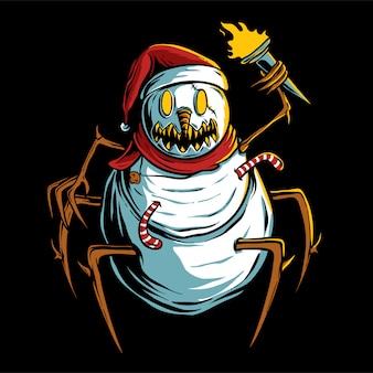Scary snowman holding torch illustration