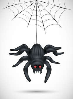 白い背景の上の怖いクモ。ハロウィーンの背景、ポスター、バナー、チラシに適しています