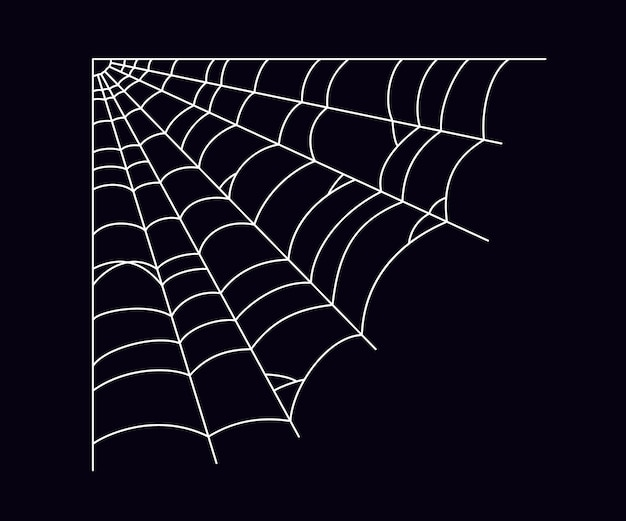 Scary spider web in the corner. white cobweb silhouette isolated on black background. hand drawn spider web for halloween party. vector illustration.