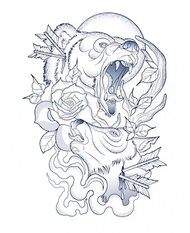 Scary tattoo of a wounded bear and deer