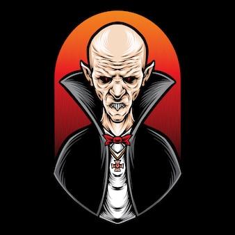 Scary vampire character logo