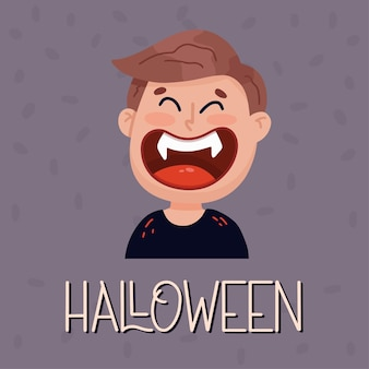 Scary vampire poster. halloween concept. vector illustration in flat style