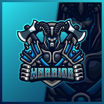 Страшный воин с топором талисман киберспорт логотип дизайн иллюстрации шаблон