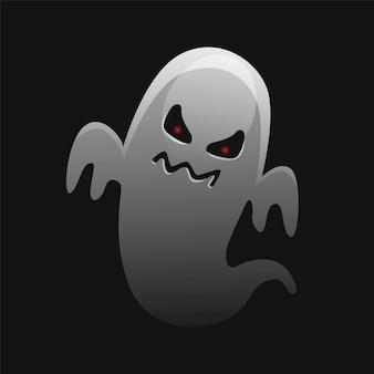 무서운 화이트 고스트 디자인. 할로윈 축하. 무서운 얼굴 모양의 유령 괴물.