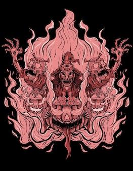 Страшная ведьма с зомби хэллоуин