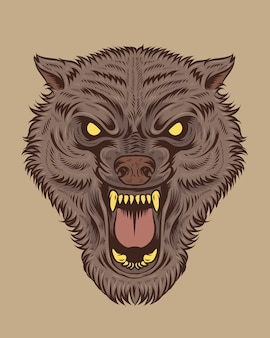 Scary wolf illustration