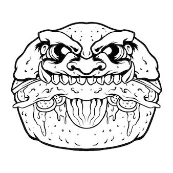 Страшный бургер зомби премиум векторные иллюстрации