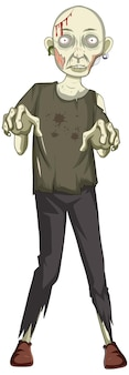 Страшный персонаж зомби на белом фоне