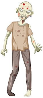 Scary zombie character on white background