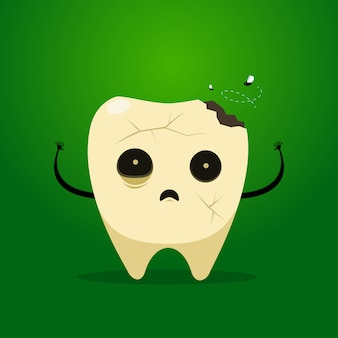 The scary zombie tooth. isolated vector illustration