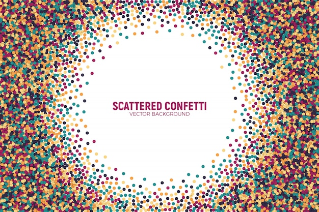 Scattered colorful confetti vector background