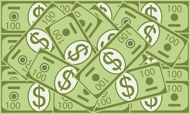 흩어져있는 달러 평면 그림 만화 스타일의 미국 달러 지폐의 벡터 배경