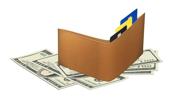 Разбросанные бумажные банкноты 100 долларов сша и кожаный кошелек с банковскими пластиковыми картами, изолированные на белом