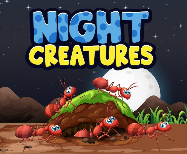 Дизайн фона сцены для слов ночных существ с муравьями на земле