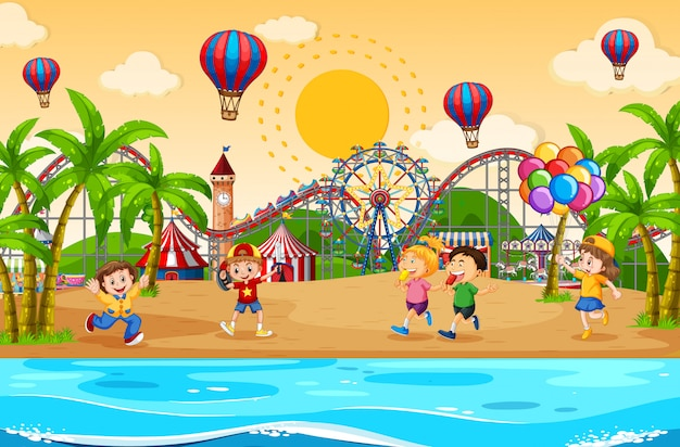 Scene background design with children at the carnival