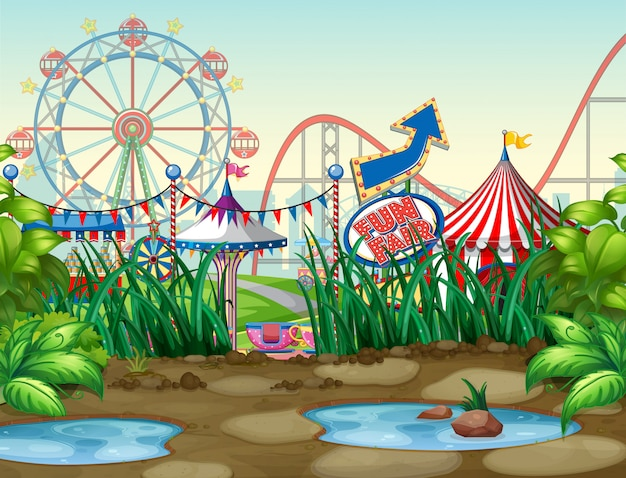 Scene background design with circus rides