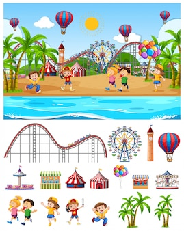 Scene background design with kids at the funfair by the beach
