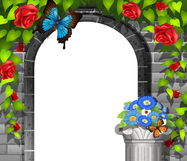 Scene background with brickwall and roses