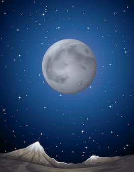Scene background with moon over the planet